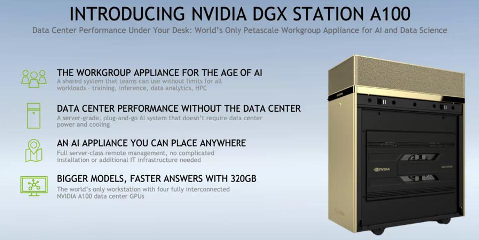 The new NVIDIA DGX STatrion A100 for AI and HPC workgroups supports four A100 80GB GPUs.